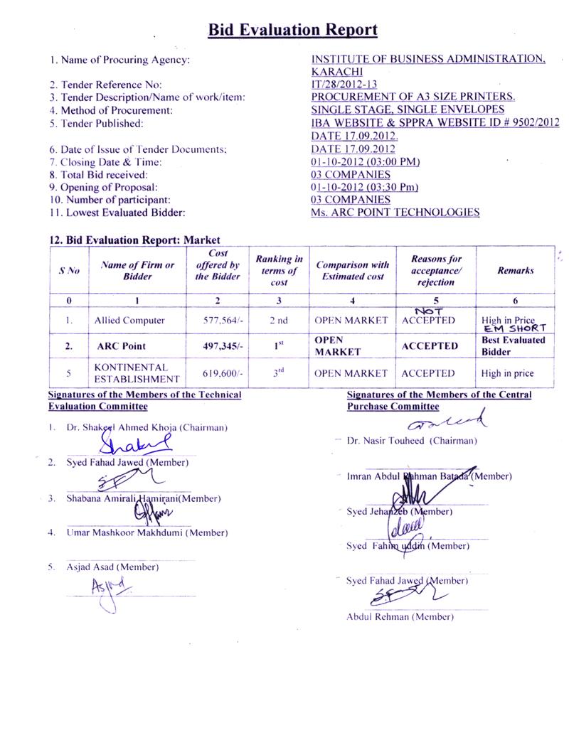 Bid Evaluation Report