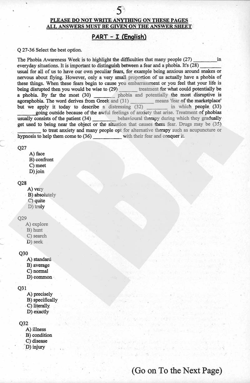 BBA – English - Past Entry Test Papers of IBA