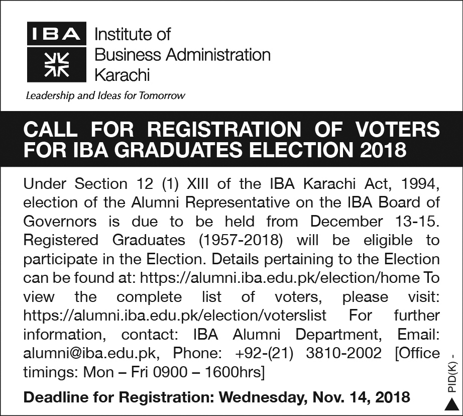 Call for Registration of Voters for IBA Graduates Election 2018