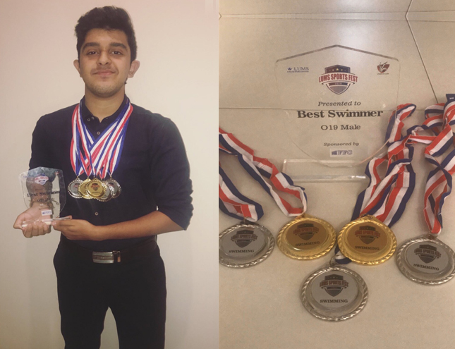 IBA student wins Gold and Silver medals in LUMS Sports Fest Swimming Championship