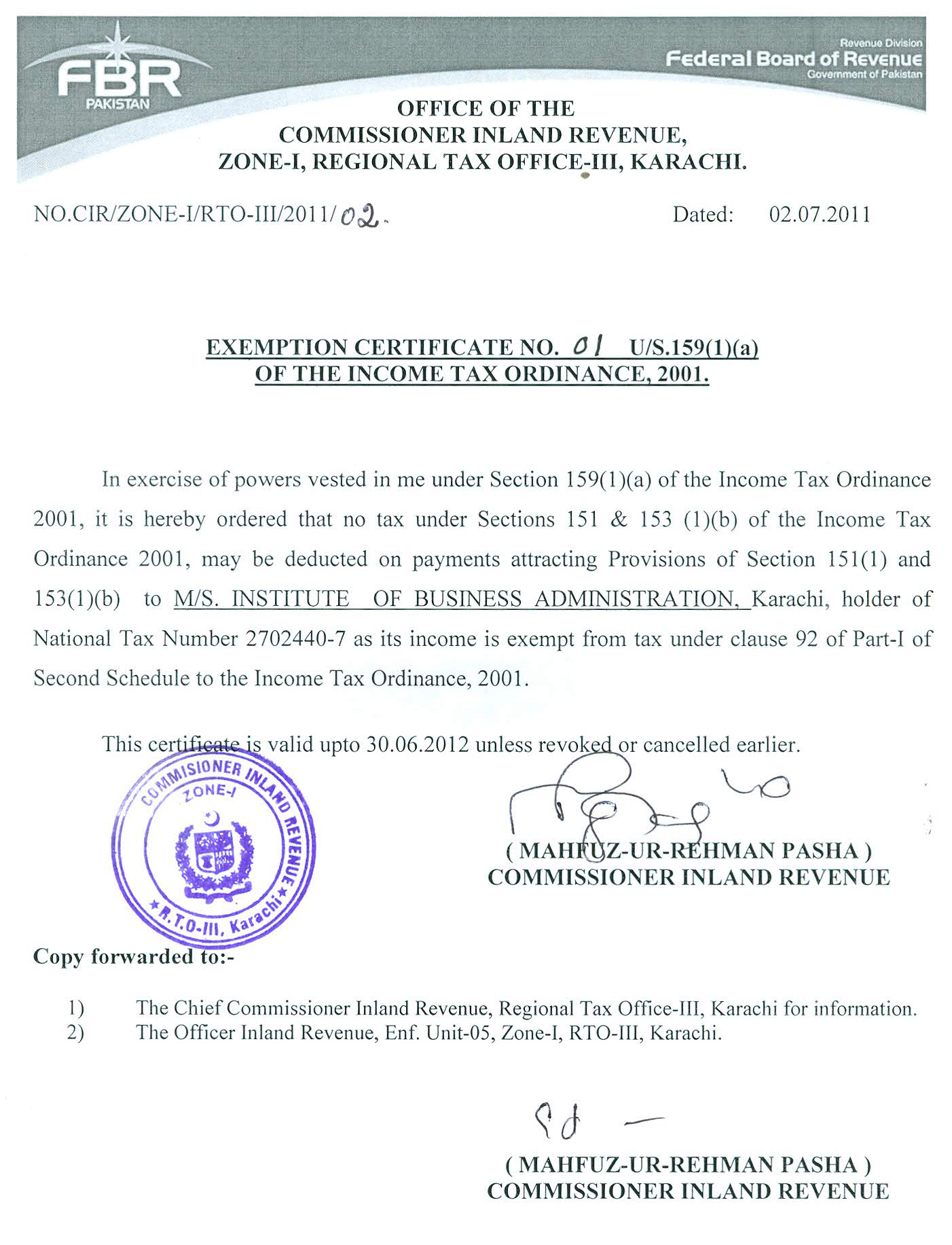 Income Tax Exemption Certificate 2011 12