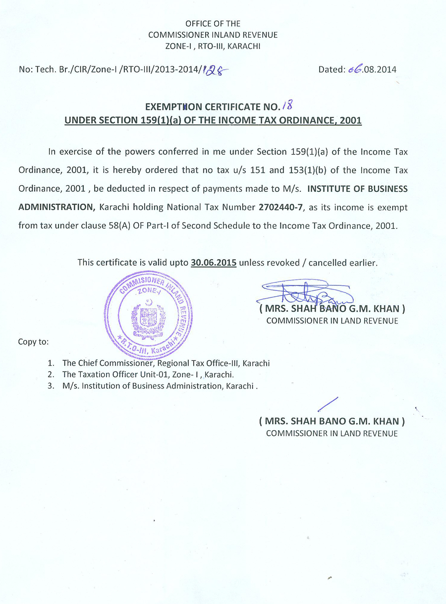Tax Exemption Certificate