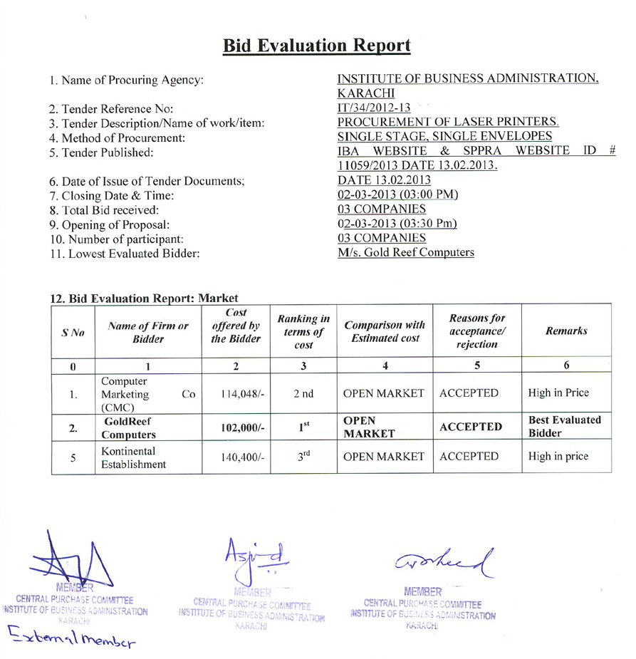 Tender report for construction contracts